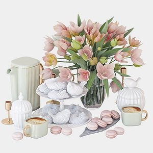 3D spring tulips set