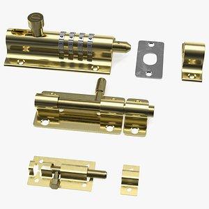 Brass Sliding Door Locks Set 3D