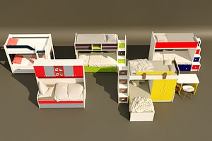 3D 5 item bunk bed design collection.