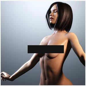 3D Naked Brunette Girl Rigged model
