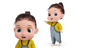 3D Cartoon Fur Baby Girl Cute Character Rigged