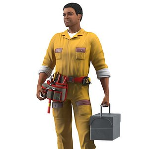 3D model light skin black locksmith