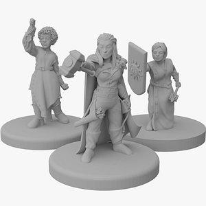 Miniaturelas -  Clerigas DnD 3D