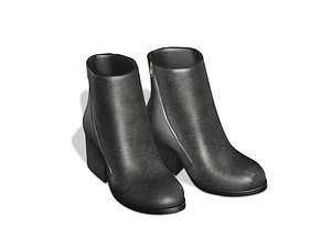 3D Black Leather Ankle Mid Heel Boots