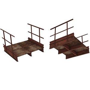 Industrial Platforms  Stairs 01 Set PCorridor 01 01 3D