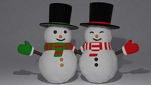 3D snow snowmen model