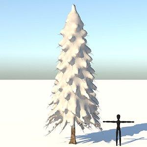 3D tree snow abies