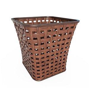 Wicker wooden basket v3 3D model