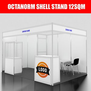 3D model Octanorm SHELL stand 12sqm
