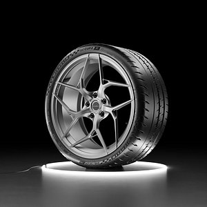 3D Car wheel Michelin Pilot Sport Cup 2R and Brixton Forged PF5 rim model