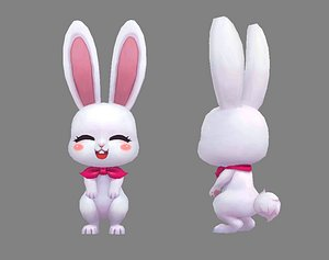 Cartoon little white rabbit 3D