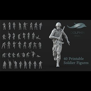 40 us marines Soldier figures 3D model