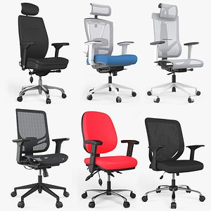 3D Six Modern Office chair Collection 8K PBR Textures