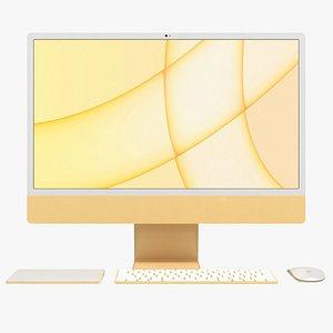 3D model Apple iMac 24 inch 2021 Yellow All Set