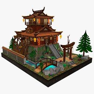 stylized house pagoda 3D model