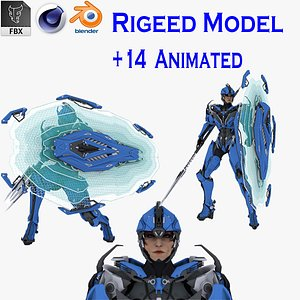 Female Cyborg Low Poly 3D model