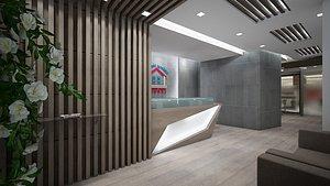 3D model Bank  Interior Office