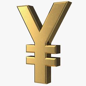 3D japanese yen currency symbol