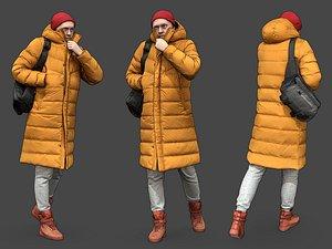 3D model Stylized Man walking in yellow jacket