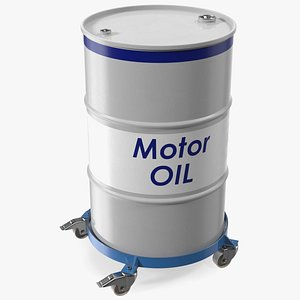 3D Heavy Duty Drum Dolly with Motor Oil Barrel model