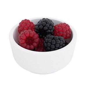 Raspberry and blackberry bowl 3D