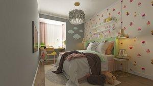 3D children room bedroom