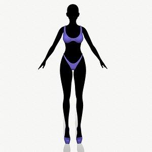 3D fashion clothing swimsuit model
