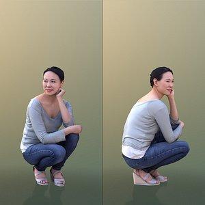 10555 Bao - Casual Woman Kneeling Down Smiling 3D model