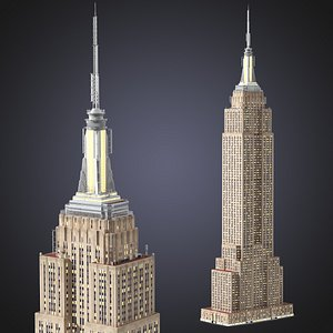3D Empire State Building Night Glow