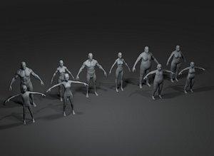Human Body Base Mesh 10 3D Models Pack 20k Polygons 3D