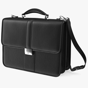 Leather Flapover Briefcase Black 3D