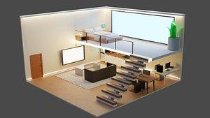 Aesthetic room isometric 3D