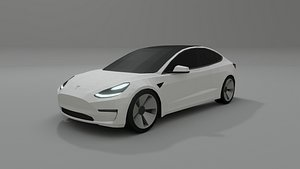 3D Tesla Model 3 low poly 3D model