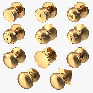 Door Knob Golden Set Collection V01 3D model