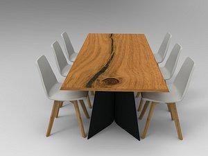 3D modern live edge dining table model