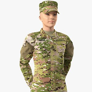 3D female soldier camo standing