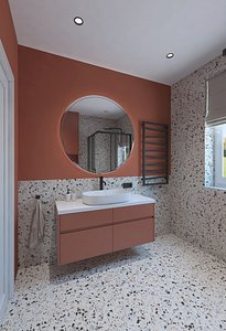 3D Shower with red wall model