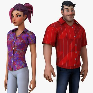 Boy and Girl Cartoon Rig 3D model