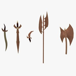 3D model Dragon Bronze Weapons Game Ready PBR