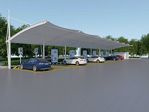 Parking shed Sunshade for parking lot charging station 3D