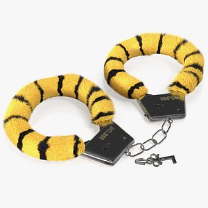 tiger handcuffs fur hand 3D model