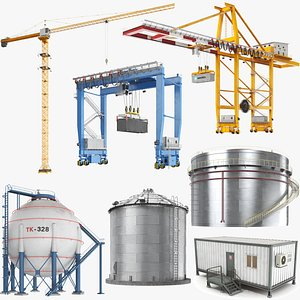3D Industrial Buildings Collection