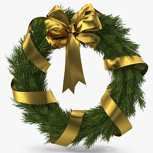Christmas Wreath with Gold Bow and Ribbon 3D