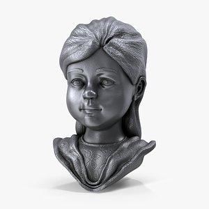 3D statue girl model