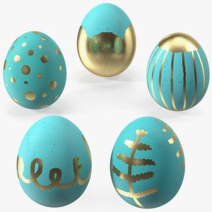 Colored Easter Eggs Set 3D