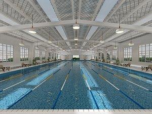 Natatorium swimming pool pool swimming competition 3D