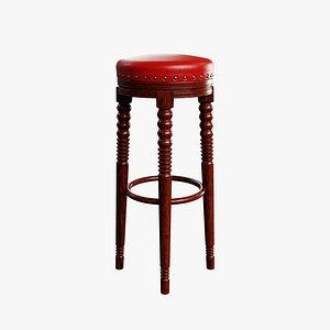 Wood Retro High Chair 3D