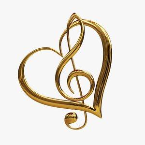 heart musical decoration 3D model