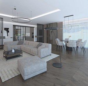 Amazing spacious living room 3D model
