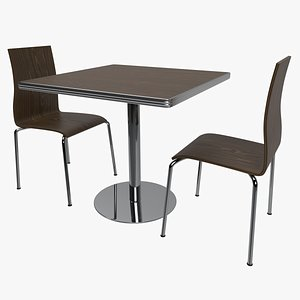 Cafe Table and Chairs Set 3D model